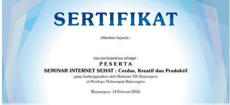 INFO PENGAMBILAN SERTIFIKAT SEMINAR INTERNET SEHAT